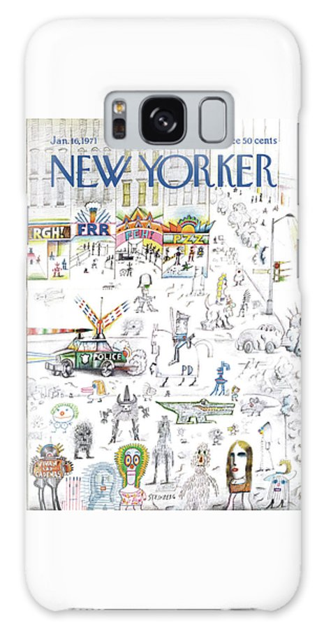 Saul Steinberg 50095 Steinbergattny Galaxy S8 Case featuring the painting New Yorker January 16th, 1971 by Saul Steinberg
