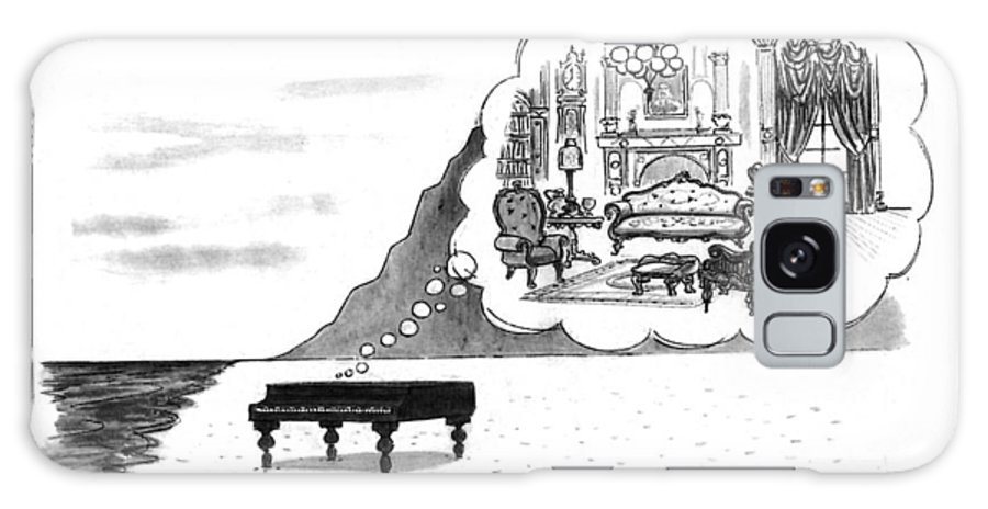 (the Piano On A Desolate Beach Wishing It Was In A Nice Parlor.)  No Caption Piano On Beach Has Mental Image Of Comfortable Victorian Parlor. Refers To Jane Campion's Film  Galaxy S8 Case featuring the drawing New Yorker January 24th, 1994 by Mort Gerberg