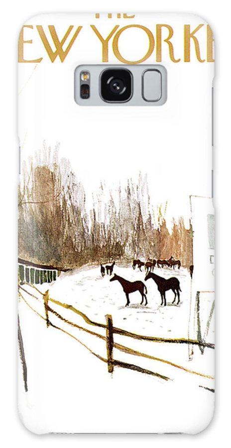 Suburb Country Outdoors Community Town Small Suburban Quaint Village Sport Sports Horse Horses Polo Snow Winter Snowing Jst James Stevenson Sumnerok James Stevenson Jst Artkey 49692 Galaxy S8 Case featuring the painting New Yorker January 6th, 1962 by James Stevenson
