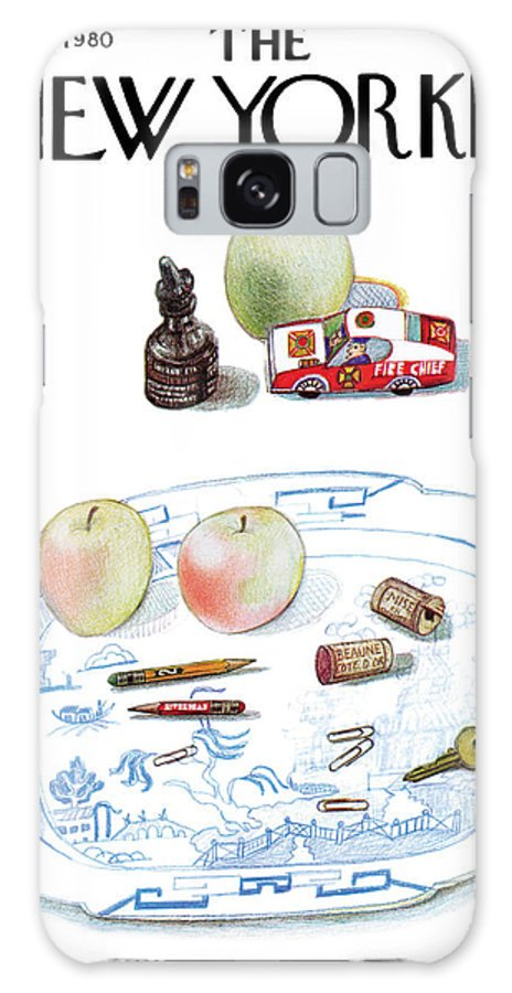Saul Steinberg 50465 Steinbergattny   (a Dish On A Table With Apples Galaxy S8 Case featuring the painting New Yorker January 7th, 1980 by Saul Steinberg