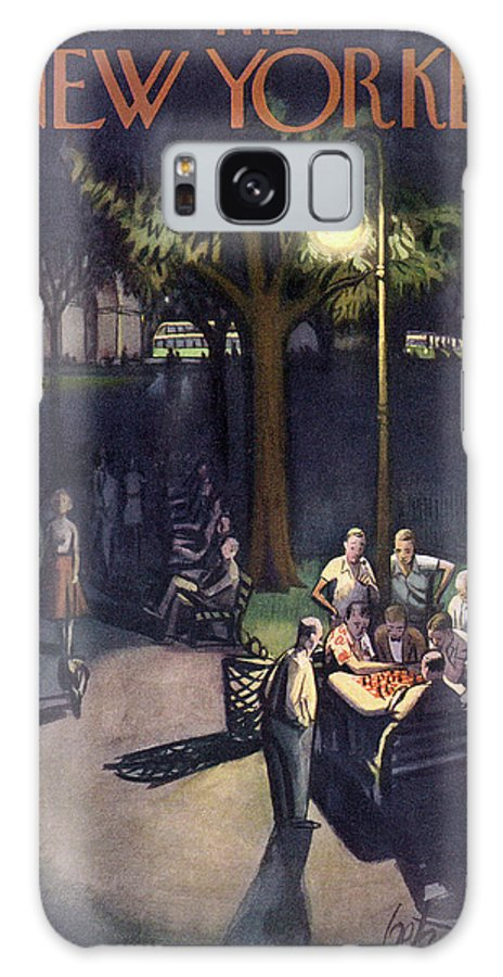 Urban City Manhattan New York City Park Washington Square Chess Playing Game Evening Night Leisure Recreation Relaxation Stroll Green Arthur Getz Agt Sumnerok Artkey 49299 Galaxy S8 Case featuring the painting New Yorker July 18th, 1953 by Arthur Getz