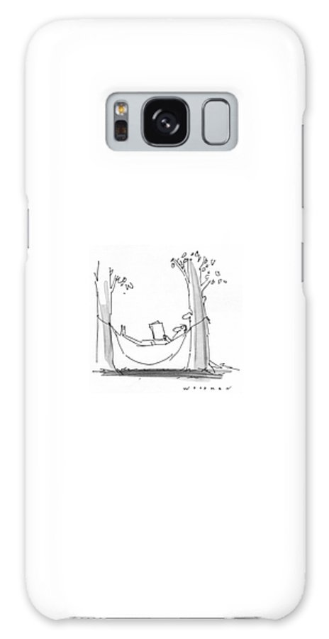 77339 Bwo Bill Woodman (man Is Reading In A Hammock As A Tree With A Face Reads Over His Shoulder.) Alive Book Books Environment Face Hammock Hammocks Landscape Landscapes Leisure Man Nature Outdoor Outdoors Over Read Reading Reads Relax Relaxation Relaxing Shoulder Tree Trees Galaxy S8 Case featuring the drawing New Yorker July 26th, 1976 by Bill Woodman
