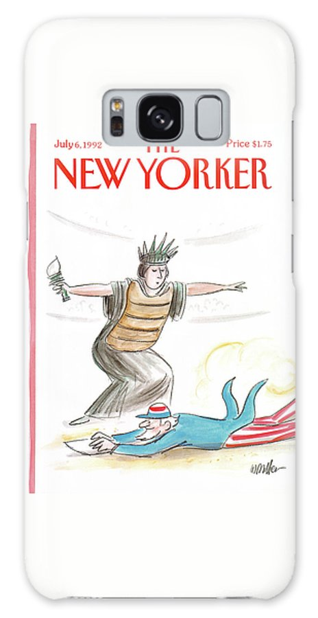The Lady Liberty Umpire Makes A Safe Call As Uncle Sam Slides Into Home Plate. Galaxy S8 Case featuring the painting New Yorker July 6th, 1992 by Warren Miller