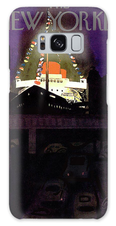 Urban City Manhattan New York City Skyscraper Skyscrapers Sea Ocean Nautical Beach Coast Coastline Coastal Cruise First Mate Deck Sail Sailing  Sailboat Summer Arthur Getz Agt Sumnerok Artkey 49249 Galaxy S8 Case featuring the painting New Yorker June 28th, 1952 by Arthur Getz