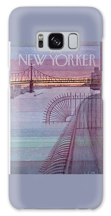 (a View Of The Manhattan Bridge From An Overhang.) Urban Technology Architecture Seashore Charles E. Martin Cma Artkey 47537 Galaxy S8 Case featuring the painting New Yorker March 31st, 1980 by Charles E Martin