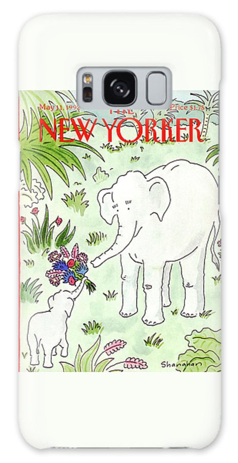 A Young Elephant Holds Out His Trunk Galaxy Case featuring the painting New Yorker May 11th, 1992 by Danny Shanahan
