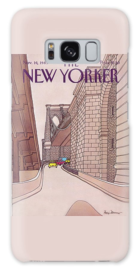(cars And Taxis Motoring Up The Ramp To The Brooklyn Bridge.) New York City Urban Technology Architecture Automobiles Driving Travel Transportation Roxie Munro Rmu Artkey 47424 Galaxy S8 Case featuring the painting New Yorker November 14th, 1983 by Roxie Munro
