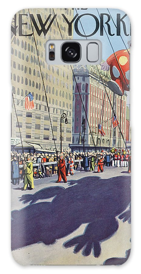 Party Celebration Gathering Event Urban City Manhattan New York City Skyscraper Skyscrapers Macys Macy's Day Parade Thanksgiving Holiday Tradition Float Balloon Spectators Clown Arthur Getz Agt Sumnerok Artkey 49268 Galaxy S8 Case featuring the painting New Yorker November 29th, 1952 by Arthur Getz
