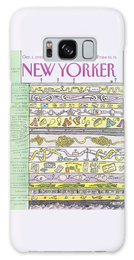 (a View Beneath East 38th Street Shows Layers Of Gas Lines Galaxy S8 Case featuring the painting New Yorker October 1st, 1990 by Roz Chast