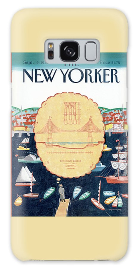 A Man Envisions The Future Brooklyn Bridge As He Looks Across The Boat-filled Harbor. Galaxy S8 Case featuring the painting New Yorker September 9th, 1991 by Kathy Osborn