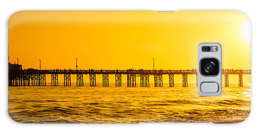 America Galaxy S8 Case featuring the photograph Newport Beach Pier Sunset Panoramic Photo by Paul Velgos