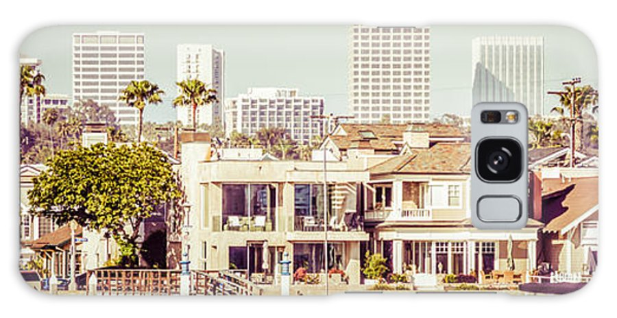 1950s Galaxy S8 Case featuring the photograph Newport Beach Skyline Vintage Panorama by Paul Velgos