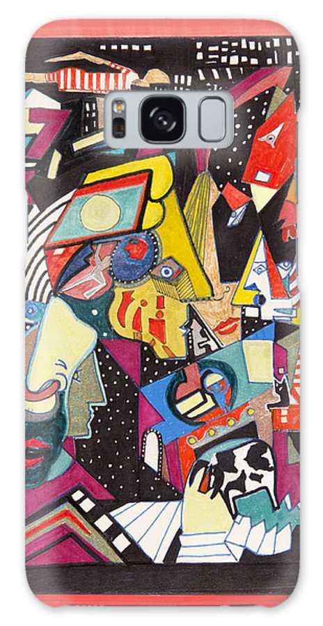 Abstract Galaxy S8 Case featuring the drawing Night Life by Dennis Davis