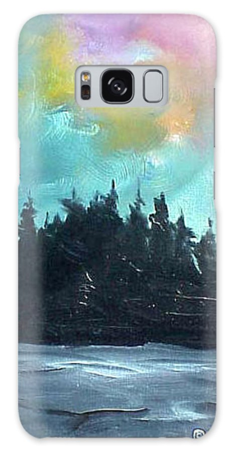 Landscape Galaxy Case featuring the painting Night River by Sergey Bezhinets