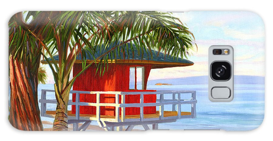 Maui Galaxy Case featuring the painting No Guard On Duty - Kamaole Beach by Steve Simon