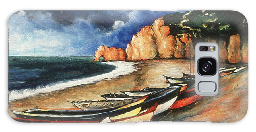 Art Galaxy S8 Case featuring the painting Normandy Coast - Landscape Oil by Peter Potter