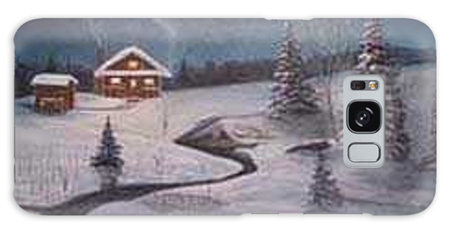 Rick Huotari Galaxy S8 Case featuring the painting North Woods Cabin by Rick Huotari