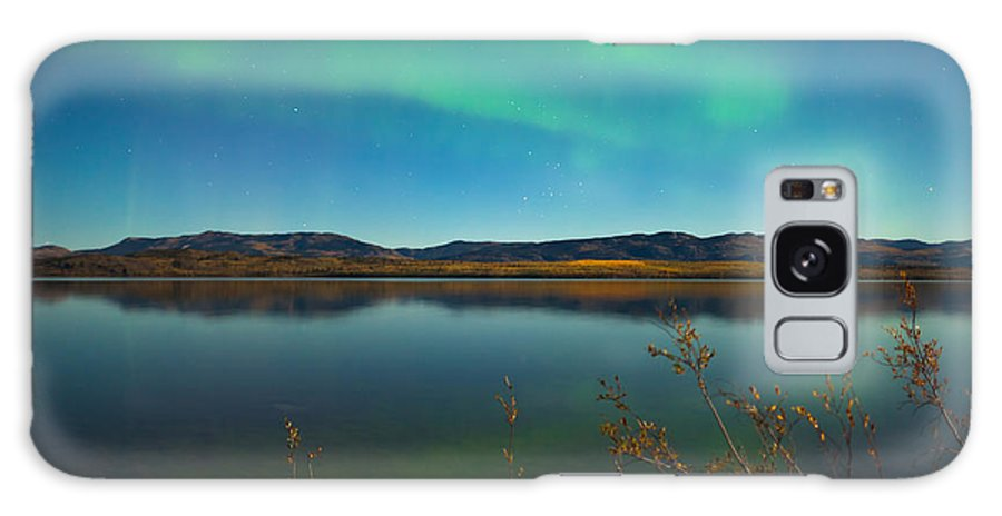 Above Galaxy S8 Case featuring the photograph Northern Lights And Fall Colors At Calm Lake by Stephan Pietzko