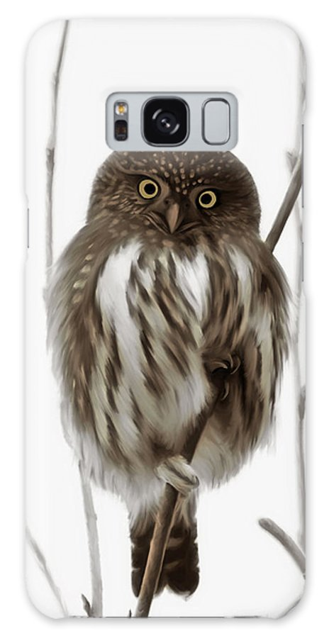 Northern Pygmy Owl Galaxy S8 Case featuring the painting Northern Pygmy Owl - Little One by Beve Brown-Clark Photography