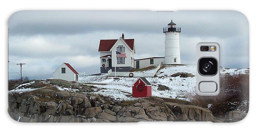 cape Neddick Maine Galaxy Case featuring the photograph Nubble Light In December by Barbara McDevitt