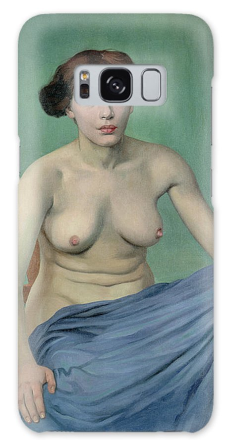 Vallotton Galaxy S8 Case featuring the painting Nude In Blue Fabric, 1912 by Felix Edouard Vallotton