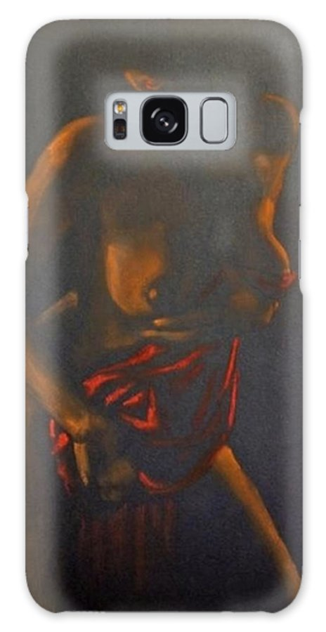Fantasy Galaxy S8 Case featuring the painting Nude In Darkness by Dorina Costras