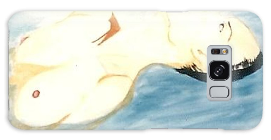 Watercolor Galaxy S8 Case featuring the painting Nude In The Water by Carrie Maurer