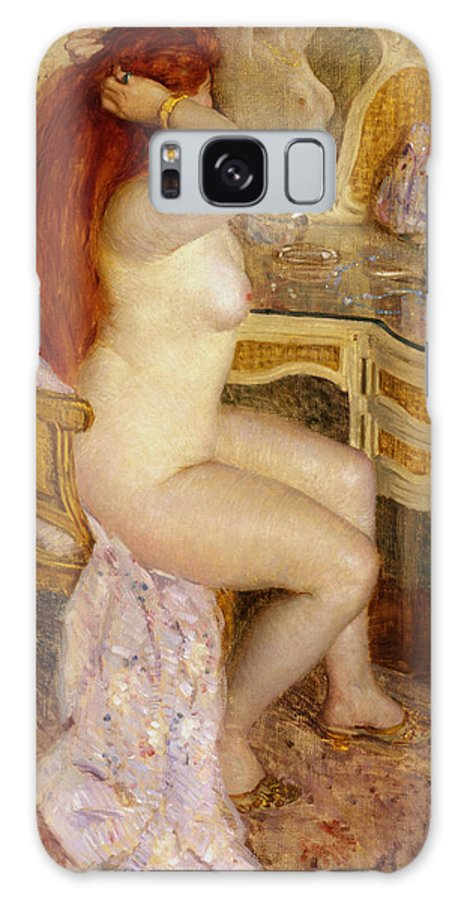 Sensuous Galaxy S8 Case featuring the digital art Nude Seated At Her Dressing Table by Carl Frieseke