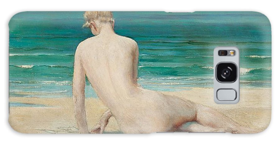 Nude; Female; Seated; Full Length; Back View; Rear View; Beach; Sea; Seascape; Seaside; Coast; Coastal; Bather; Elongated; Green; Calm; Peaceful; Relaxation; Tranquil; Sunbathing Galaxy S8 Case featuring the painting Nude Seated On The Shore by John Reinhard Weguelin