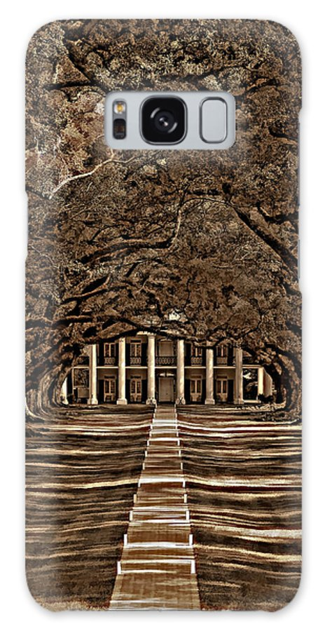 Oak Alley Plantation Galaxy S8 Case featuring the photograph Oak Alley Bw by Steve Harrington