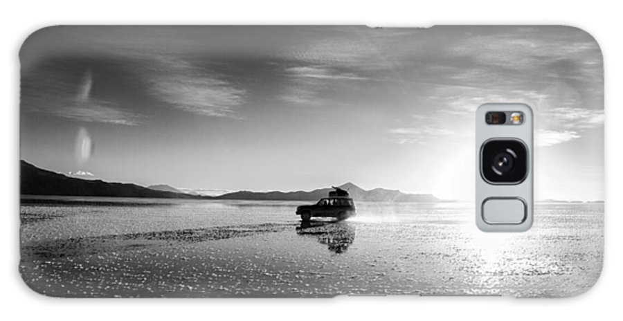 Uyuni Galaxy S8 Case featuring the photograph Off Road Uyuni Salt Flat Tour Black And White by For Ninety One Days
