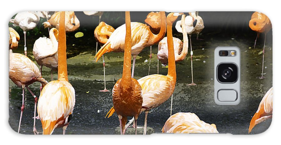 Animals With Legs Tagged Galaxy S8 Case featuring the photograph Oil Painting - A Number Of Flamingos With Their Heads Held High Inside The Jurong Bird Park by Ashish Agarwal
