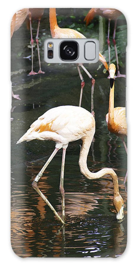 Asia Galaxy S8 Case featuring the digital art Oil Painting - The Head Of A Flamingo Under Water In The Jurong Bird Park In Singapore by Ashish Agarwal