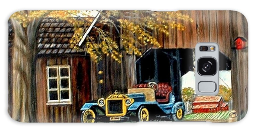 Old Barn Car Galaxy Case featuring the painting Old Barn And Old Car by Kenneth LePoidevin