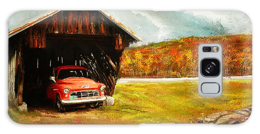 Vintage Truck Galaxy S8 Case featuring the painting Old Barn And Red Truck by Lourry Legarde