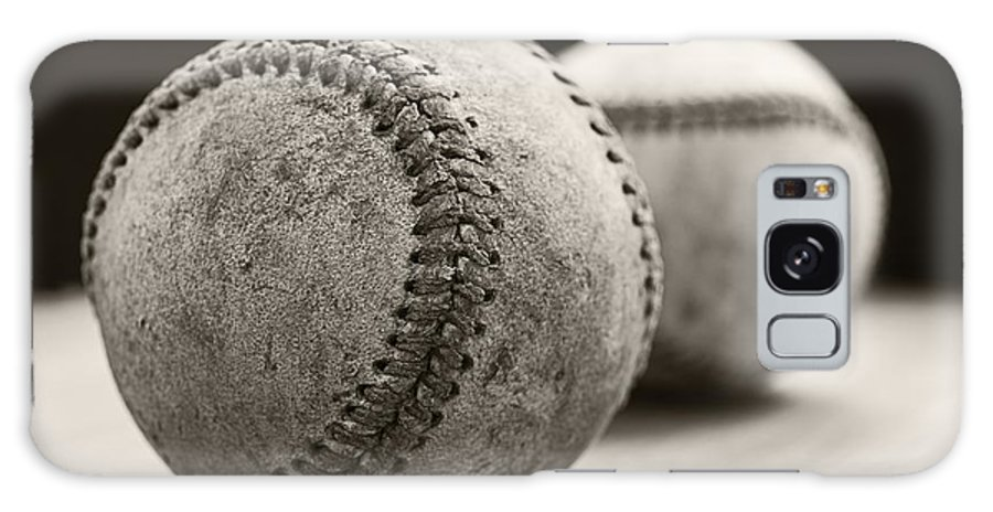Ball; Sport; Baseball; Leather; Stitches; Red; White; Closeup; Used; Old; Vintage; Antique; Old Baseballs Galaxy Case featuring the photograph Old Baseballs by Edward Fielding