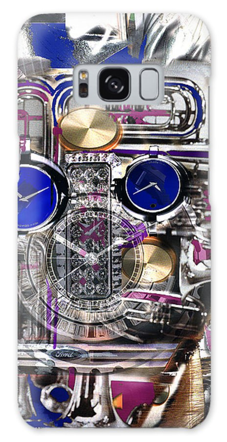 Robotic Time Traveller Galaxy Case featuring the digital art Old Blue Eyes by Seth Weaver