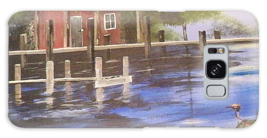 Painting Of Cabin Galaxy S8 Case featuring the painting Old Fishin Cabin by Linda Bright Toth
