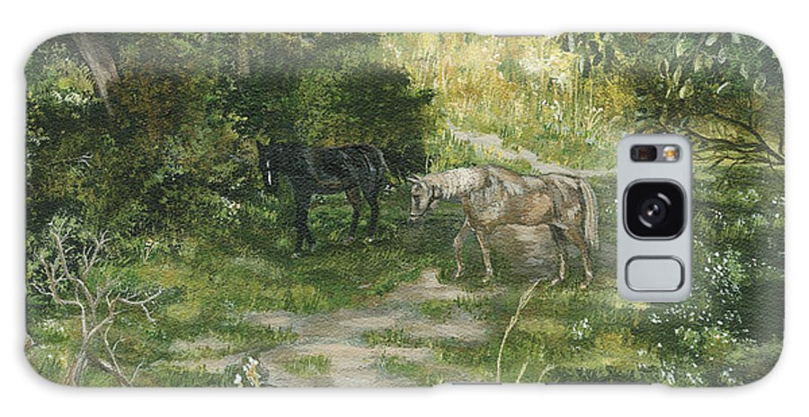 Horses Galaxy S8 Case featuring the painting Old Horses by Lucinda V VanVleck
