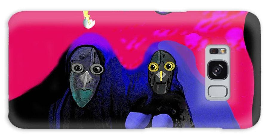 Owl Galaxy S8 Case featuring the painting Old  Owl Family - 108 by Irmgard Schoendorf Welch