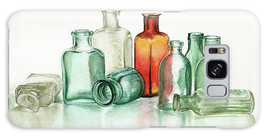 Material Galaxy Case featuring the photograph Old Pharmacys Glassware by Sergey Ryumin