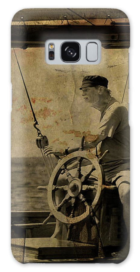 Tall Ship Galaxy S8 Case featuring the photograph old sailor A vintage processed photo of a sailor sitted behind the rudder in Mediterranean sailing by Pedro Cardona Llambias