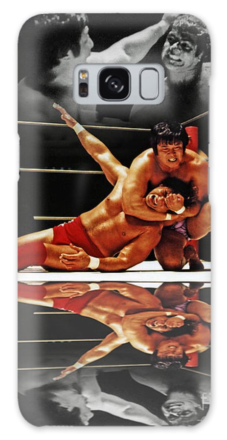 Old School Wrestling Galaxy S8 Case featuring the digital art Old School Wrestling Headlock By Dean Ho On Don Muraco With Reflection by Jim Fitzpatrick