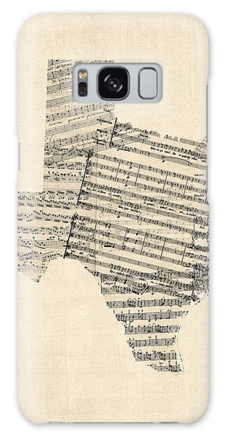 Texas Galaxy S8 Case featuring the digital art Old Sheet Music Map Of Texas by Michael Tompsett