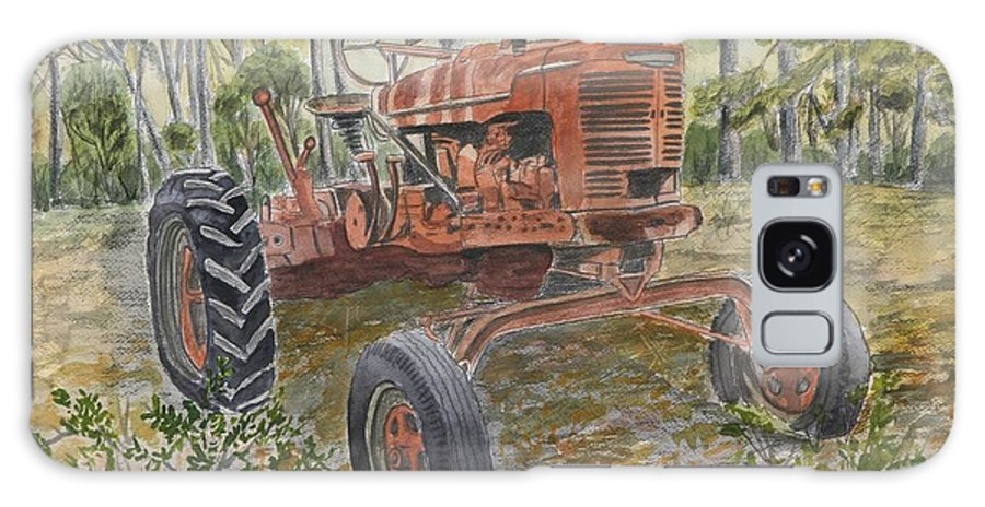 Old Galaxy Case featuring the painting Old Tractor Vintage Art by Derek Mccrea
