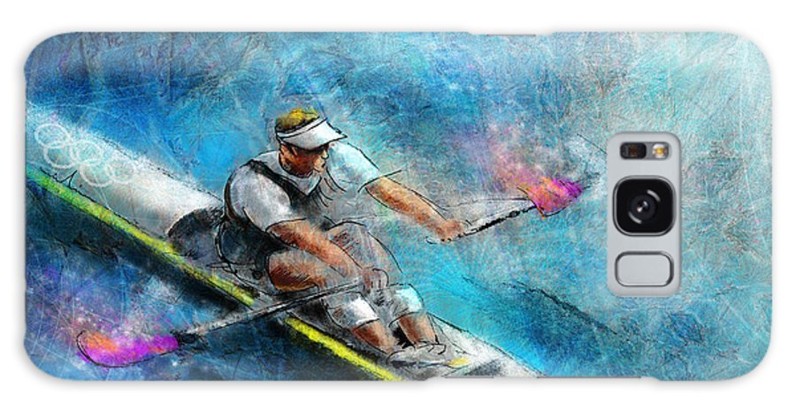 Sports Galaxy S8 Case featuring the painting Olympics Rowing 01 by Miki De Goodaboom