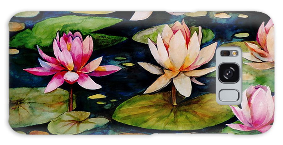 Lily Galaxy Case featuring the painting On Lily Pond by Jun Jamosmos