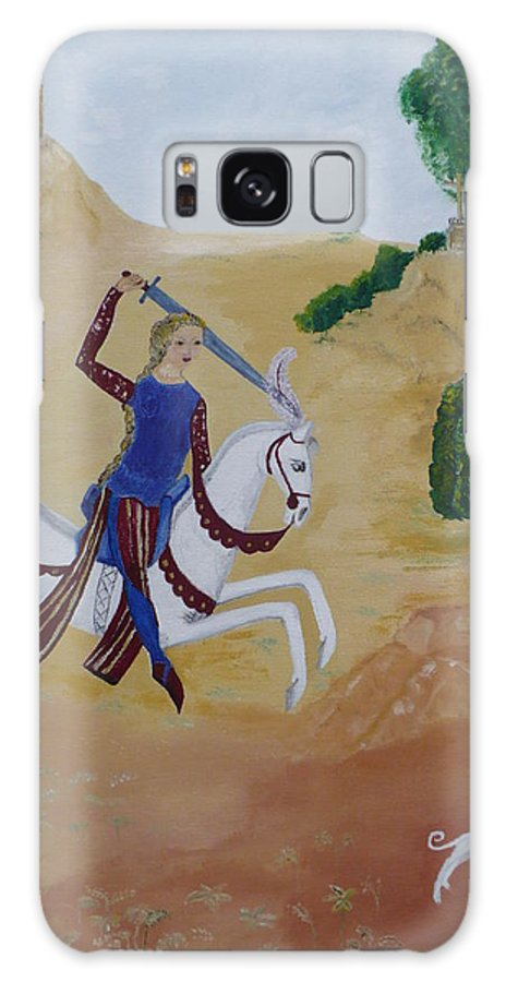 Joan Of Arc On Her White Horse Galaxy Case featuring the painting Once Upon A Time by Coco de la garrigue