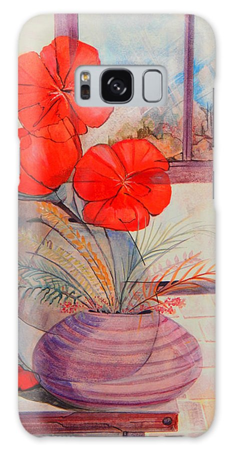 Pots Galaxy S8 Case featuring the painting One Petal Down II by Brenda L Baker