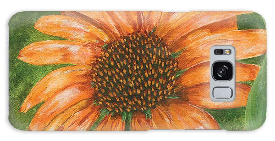 Flower Galaxy S8 Case featuring the painting Orange Echinacea by Lucinda V VanVleck